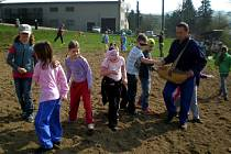Děti ze základní školy ve Francově Lhotě sejí pšenici na poli rodičů kardinála Štěpána Trochty ve Francově Lhotě.