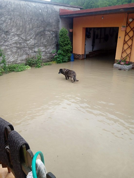 Rodina Pláškova bojovala 22. května 2019 s bleskovou povodní, která zasáhla Ústí u Vsetína. Voda zaplavila zahradu, dvůr i sklepy.