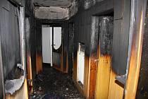 Následky požáru v rodinném domě v ulici Dr. Milady Horákové v Rožnově pod Radhoštěm; 11. října 2019