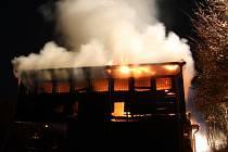 Požár restaurace v Bystřičce.