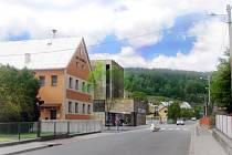 Vizualizace plánované přístavby víceúčelového domu v centru Kateřinic na Vsetínsku.