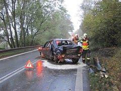 Dopravní nehoda mezi obcemi Jablůnka a Bystřička.