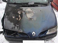 Požár auta na Horní Jasence
