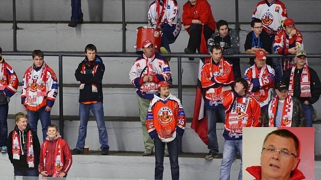 Dospělý hokej je ve velkém ohrožení. Pokud vedení HC Rebel (ve výřezu jeden z majitelů HC Petr Hubacz) nenajde řeč s městem Havlíčkův Brod, připouští Petr Hubacz, že by zde dospělý hokej nebyl.