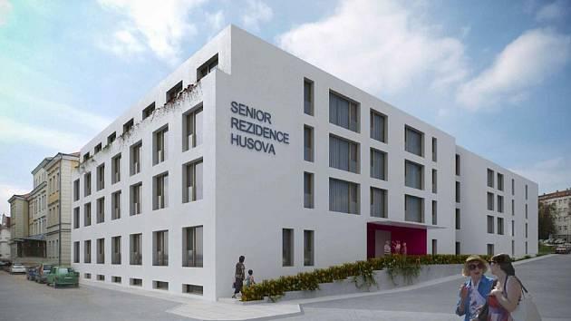Vizualizace Domova pro seniory v areálu havlíčkobrodské nemocnice.