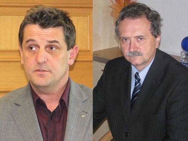 Z údajného předražení zakázky nákupu sypačů značky Iveco v roce 2009 pro vysočinské silničáře měli mít podle obžaloby prospěch tehdejší náměstek hejtmana pro oblast dopravy Libor Joukl (vlevo) a dosavadní ředitel KSÚS Vysočiny Jan Míka (vpravo).