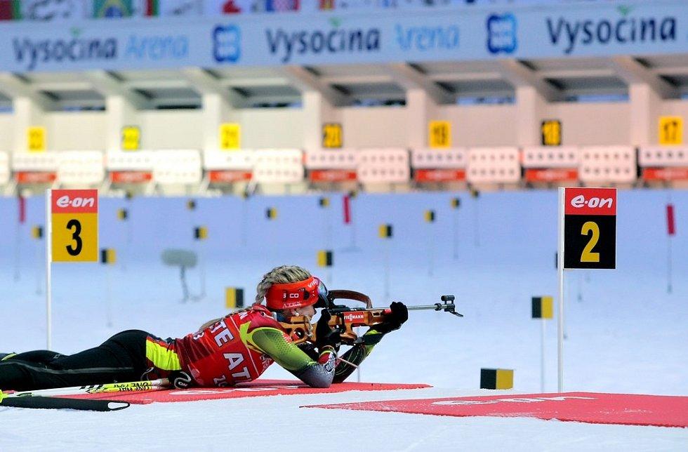 Trénink českých závodníků na první závod Mistrovství světa v biatlonu v Novém Městě. Na snímku Gabriela Soukalová.
