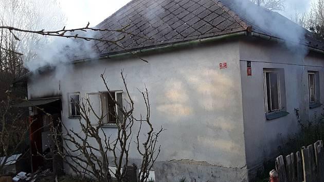 Hořící dům v Batelově.