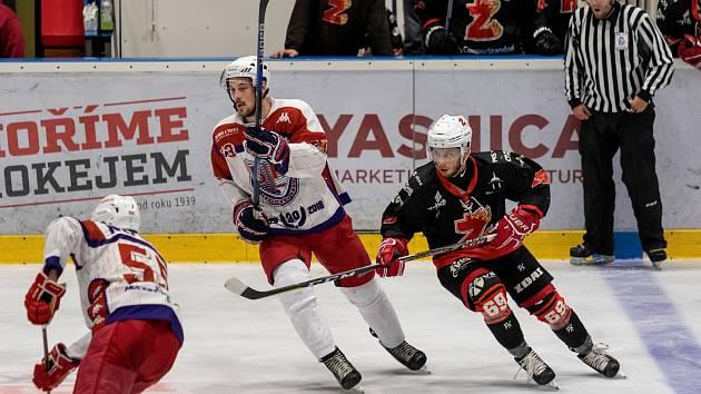 Hokejisté Havlíčkova Brodu se po výhře v Táboře bodově dotáhli na vedoucí Žďár. Navíc mají ještě zápas k dobru.
