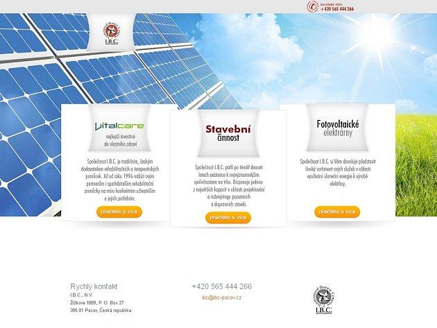 Pacovská firma I.B.C. NV, která se stala faktickou nástupkyní původní akciové společnosti I.B.C., má široký záběr. Kromě rehabilitačních a terapeutických pomůcek nabízí na svém webu také stavební činnost či instalace solárních systémů. Reprofoto.