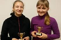 Třetí místo v deblu získal domácí pár Helena Grubauerová (vlevo), Karolína Tajovská.