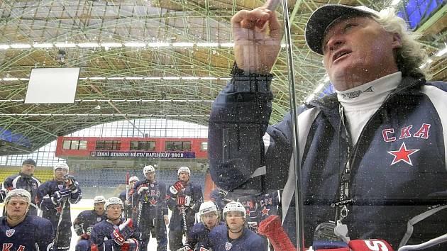 Trénink hokejového klubu SKA Petrohrad v havlíčkobrodské Kotlině.