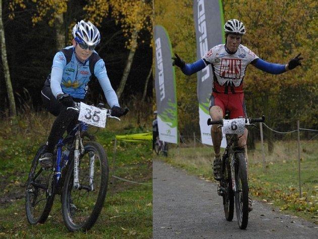 Vítězové. Závod horských kol v Pelestrově ovládl mezi muži třebíčský Lukáš Frýba (na snímku vpravo). Mezi ženami triumfovala Leona Bušková ze Světlé nad Sázavou.