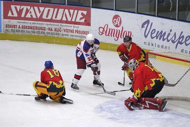 Z hokejového utkání juniorů Havl. Brod - Mělník.
