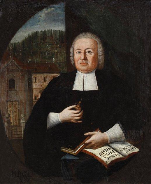 Portrét děkana Varhánka z roku 1762 zdobí přibyslavský farní úřad. V pozadí podobizny je přibyslavský kostel s farou před požárem v roce 1767.