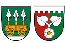 Už od počátku listopadu mají obce Bojiště (vlevo) a Hradec (vpravo) schváleny své nové smyboly. Například erb Bojiště odkazuje na bitku z května roku 1420.
