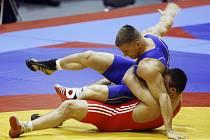 Havlíčkobrodský zápasník Marek Švec (v modrém) si z mistrovství Evropy v litevském Vilniusu přiveze bronzovou medaili.