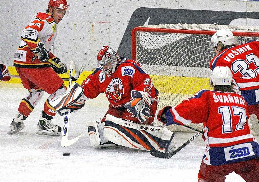 Z hokejového utkání HC Rebel - HC VČES Hradec Králové.