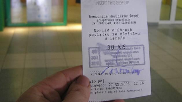 Tak vypadá použitý platební doklad  o ošetření v havlíčkobrodské nemocnici.