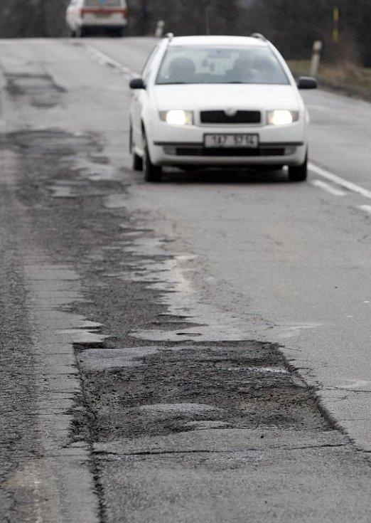 Stav silnice u Rouštan.