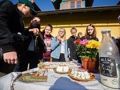 Školní exkurze na Dvorském kozím statku v Olešence.