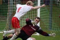 Souboj haberských hráčů s lipským gólmanem Exnerem byl v derby vidět hodněkrát.