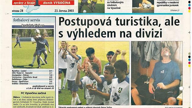 Článek z titulní strany deníku Vysočina o triumfu Ždírce.