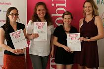 Vítězky soutěže Rozjezdy roku 2014 na Vysočině. Zleva Petra Antonů (3. místo), vítězná Leona Burkoňová a Lucie Burkoňová a Štěpánka Hejlová (2. místo).