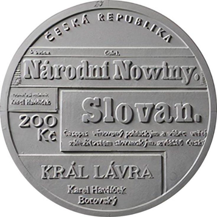 Vítězný návrh mince s portrétem slavného novináře.