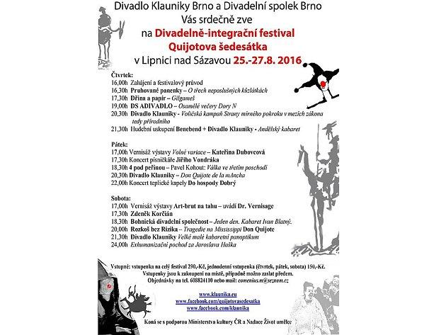 Divadelně-integrační festival Quijotova šedesátka se uskuteční v Lipnici nad Sázavou.
