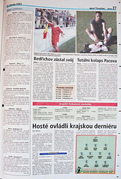 Sumář jarní části KP z června 2003.