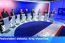 Na Vysočině se uchází o místa v krajském zastupitelstvu 21 politických subjektů. Podle průzkumů pro ČT má šanci překročit pětiprocentní hranici volitelnosti devět stran. Jejich zástupci v pondělí večer diskutovali v brněnském studiu ČT.