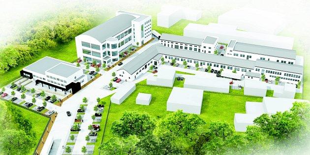 Vizualizace areálu průmyslové zóny U Borové v Havlíčkově Brodě.