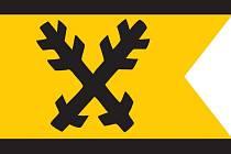 Vlajka se znamením Ronovců, kterým jsou skřížené ostrve (německy ron – od toho Ronovci).
