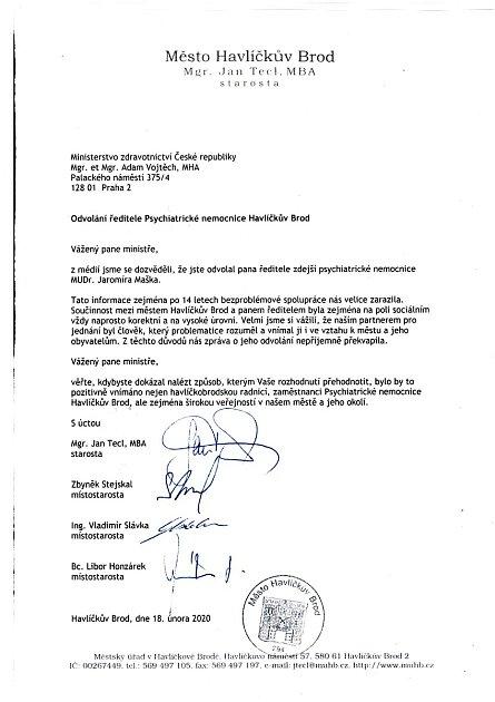 Otevřený dopis vedení Havlíčkova Brodu ministru Adamu Vojtěchovi.