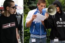 Tito dva pochod nahlásili. Na snímku vlevo je Milan Hroch ze Světlé nad Sázavou. Jde o vůdčí osobnost NO Havlíčkobrodska. Vpravo je zachycen Richard Lang, jak přednáší projev do megafonu při setkání neonacistů v Jihlavě před dvěma lety.