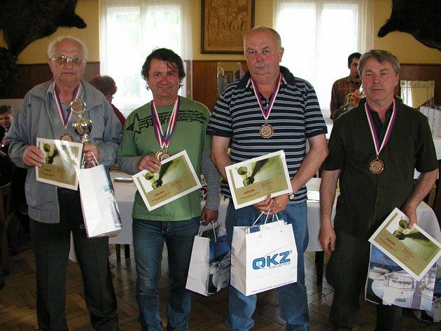 Ocenění střelci. Zleva Jan Hevier, Rudolf Guhl, Josef Bauer a Jiří Kocman.