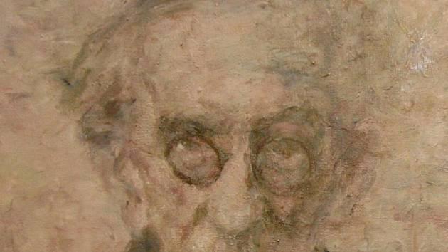 Bohuslav Reynek - olej na plátně od akademickéhbo malíře Vladimíra Suchého v Galerii výtvarného umění v Havlíčkově Brodě (detail).