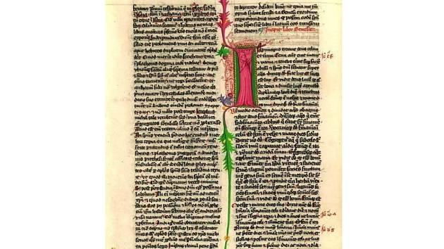 Ukázka textu Lipnické bible s Iniciálou.