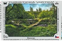 Turistická vizitka se zříceninou hradu Ronovec.
