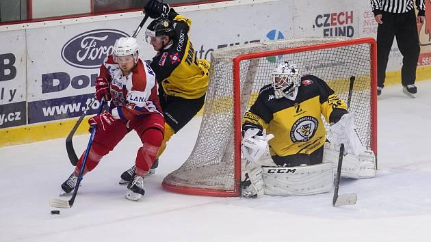 Hokejové utkání 2. ligy mezi BK Havlíčkův Brod a HC Moravské Budějovice 2019.
