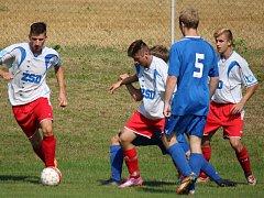 Teprve ve 4. kole I. A třídy vsítili první gól pohledští fotbalisté v zápase proti Košeticím, autorem byl Marek Drlík (vpravo).