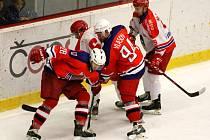 Devět bodů získali havlíčkobrodští hokejisté v posledních třech utkáních, které se odehráli v domácí Kotlině. Snímek je z derby s Pelhřimovem, který skončil výhrou 4:3.