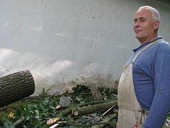 """Dřevo z rozřezaného stromu se vrší za domem. Bohumilu Pyrochtovi spadla na chalupu lípa, on ale zoufalství nepropadá: """"Lidé, kterým voda vytopila sklepy, na tom byli mnohem hůř."""""""