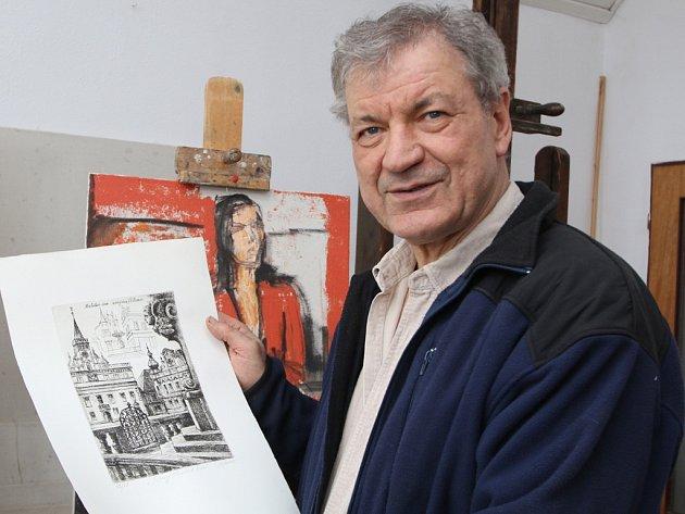 U renomovaného malíře Josefa Sasky si nové grafiky objednalo město Havlíčkův Brod.