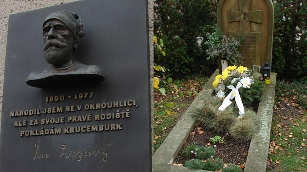 Místo narození a hrob. Slavný malíř Jan Zrzavý se narodil ve Vadíně, dnes části Okrouhlice. Pochován však je na hřbitově v Krucemburku.