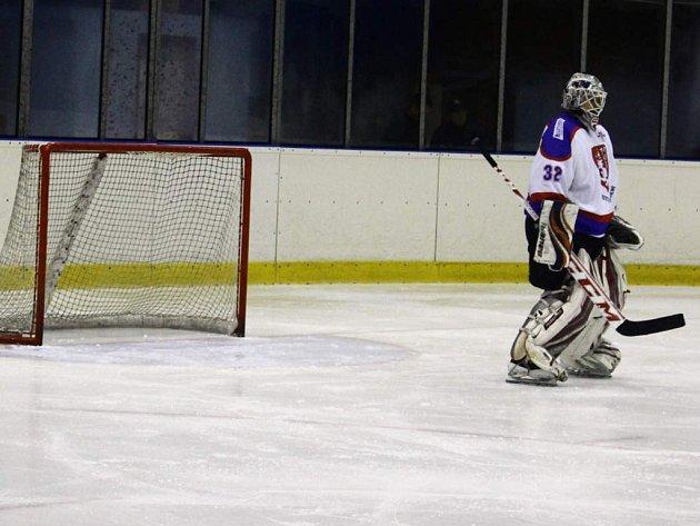 Čisté konto uhájil proti Chocni chotěbořský gólman Matěj Pešek (na snímku). Je to jeho první nula v sezoně.