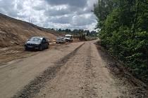 Stavba I/19 Simtany, úprava silnice.