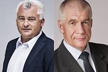 Jaromír Strnad a Ivo Šanc (vpravo) se utkají v druhém kole senátních voleb.