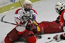 Extraligoví dorostenci HC Rebel (ve bílém) si závěr sezony zpříjemní nejen záchranou v nejvyšší soutěži, ale i vyřazovacími boji, v nichž se utkají s prvními Vítkovicemi.